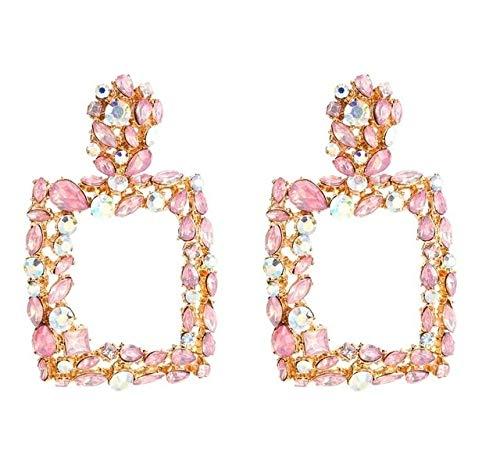 LilifenXCFDC Frauen-Ohrringe Tyui 2 Paare Retro Geometric Platz Bohreinsätze Ohrringe (weiß) (Farbe : Rosa)