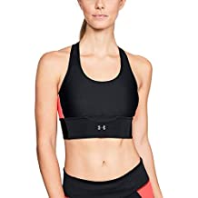 Under Armour Sujetador Deportivo para Mujer Cross Back Clutch, Mujer, 1303477-002, Black/After Burn/Reflective, Small