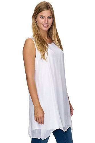 JillyMode Elegante Damen Tunika Aus Seide Kurzarm Onesize A1084 A1099-Weiß