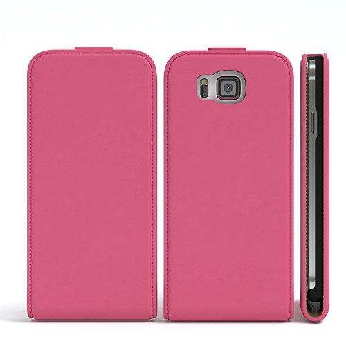 Samsung Galaxy Alpha Hülle - EAZY CASE Premium Flip Case Handyhülle - Schutzhülle aus Leder zum Aufklappen in Hellblau Pink