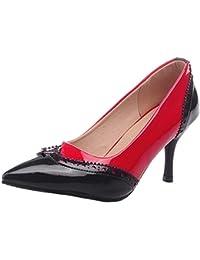 Damen Spitz Zehe Nubukleder Pumps Schuhe mit Schleife, Silber-Schleife, 38.5 AalarDom