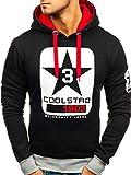 BOLF Herren Kapuzenpullover Sweatshirt Print Hoodie Langarmshirt J.Style Y29 Schwarz-Rot XXL [1A1]