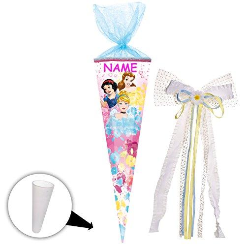 alles-meine GmbH Schultüte -  Disney Princess - Schneewittchen - Belle - Cinderella  - 85 cm - eckig - incl. Name und große 3-D Effekt _ Schleife - Tüllabschluß - Zuckertüte..