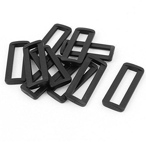 sourcingmap®-Set di vetrini con fibbie in plastica, confezione da 10, colore: nero, 50 mm, con cinghia per tracolla - Belt Buckle Fibbie