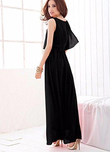 Sexy Casual en mousseline de soie jupe longue femme manches col rond desserre Robes Noir