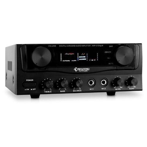 Auna Amp-2 Amplificador HiFi (400 W, 2, entradas para micrófono, 2 entradas...