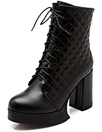 Femmes Cheville Bottes Mode Sauvage Rugueux Élevé Talon Chaussures Pointu Suede Cuir Noir Printemps Automne Hiver , Black , EUR 35/ UK 3