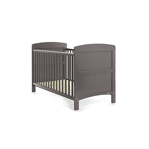 Obaby Grace 3 Piece Nursery Furniture Set - Taupe Grey Obaby 3 mattress base heights, protective teething rails included and split end panels for conversion to a toddler bed Changing unit has 2 generous open shelves for storage Wardrobe includes a large cupboard with 2 internal hanging rails and 2 deep drawers 2