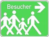 LEMAX® Schild Alu Besucher + Symbol Pfeil Rechts 300x400mm
