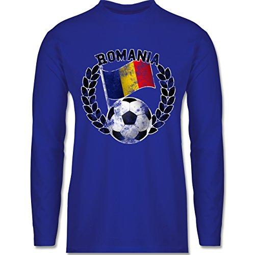 Shirtracer Fußball - Romania Flagge & Fußball Vintage - Herren Langarmshirt Royalblau