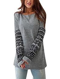 YouPue Mujer Camiseta Manga Larga Con Capucha Sudaderas Camisa Blusa Pullover