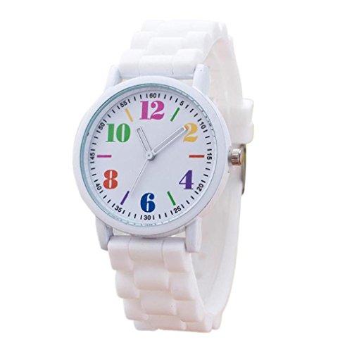 FEITONG Mode Damenuhr Sport Silikon Band Quarz Uhren Armbanduhr Weiß