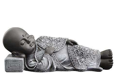 Buddha Figur liegend aus Stein, Statue frostsicher und wetterbeständig für Haus und Garten, hergestellt in Deutschland