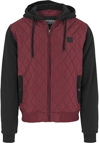 Urban Classics Herren Sweatjacke mit Kapuze Hooded Diamond Quilt Jacket, Streetwear Steppjacke für Männer, burgundy/black, Größe M -