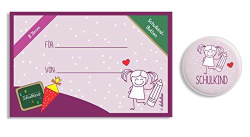 dabelino Button Schulkind: Mädchen mit Karte zur Einschulung: Ø 31 mm (Anstecker/ Pin) - 2