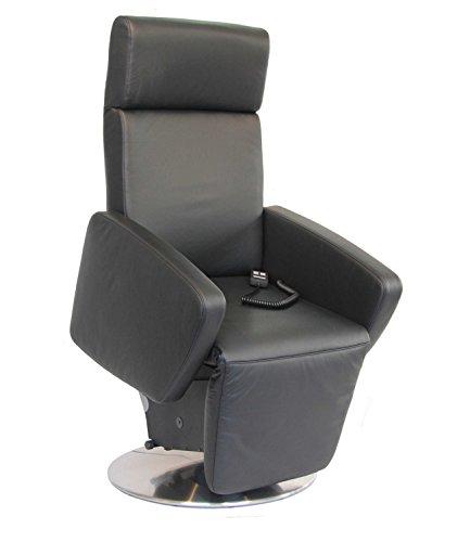 Devita Sessel mit Aufstehhilfe Ulma Lift drehbar 360°, Metallteller (elektr.verstellbar Akku, Echtleder schwarz)