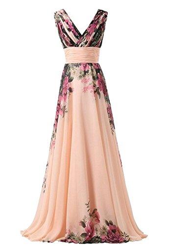 abito da cerimonia donna in chiffon damigella vestito lungo elegante floreale da festa party-Pink peach -S(busto 84cm)
