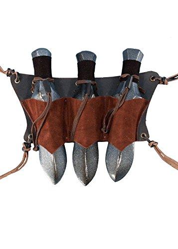 Leder LARP Gürtelhalter aus Leder für 3 Wurfmesser Holster Schwarz oder Braun Gürteltasche Mittelalter Wiking (Braun) (Braun Shirt Bdu)