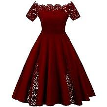 Mujer Vestido de Fiesta Corto Vestidos de Encaje Floral Elegante Vintage Falda Bodas Cóctel Talla Grande, XL - 5XL