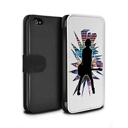 Stuff4 Coque/Etui/Housse Cuir PU Case/Cover pour Apple iPhone 4/4S / étendre Blanc Design / Rock Star Pose Collection émotion Blanc