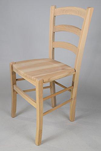 Set 2 sedie cucina e sala da pranzo dallo stile classico, con robusta struttura in legno di faggio levigato, non trattato, 100% naturale e con seduta in legno. set venezia 38 by tommychairs, sedie di design.