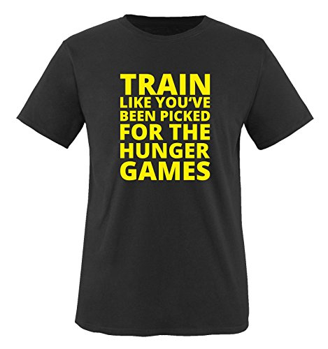 Comedy Shirts - Train like you've been picked for the HUNGER GAMES - Herren T-Shirt - Schwarz / Neongelb Gr. XXL