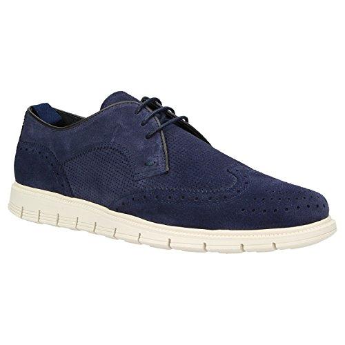Zweigut Hamburg- Komood #352 Herren Business Sneaker Leder Freizeit Schuh Half-Brogue Super Flexibel, Schuhgröße:42, Farbe:Blau