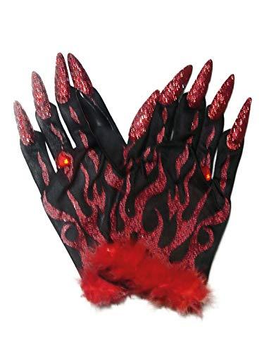 Halloweenia - Kostüm Accessoires ZubehörnHandschuhe Teufel mit Flammen-Muster, Plüsch und Glitzer Krallen, Devil Gloves with Glitter Claws, perfekt für Halloween Karneval und Fasching, Rot