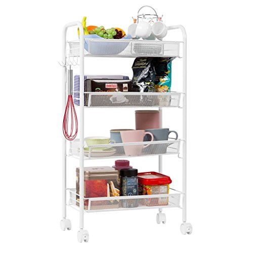 LPZ-Shelving 4-Tier Küchenwagen | Metal Wire Mesh Serving Rollwagen Dienstprogramm Organisation Regal | Movable Storage Rack Regal im Badezimmer Küche Schlafzimmer | Heavy Duty Metall Stahl, Weiß -