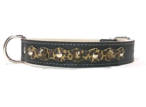 Handmade Schwarz Leopard Design Leder Hundehalsband mit Nieten, Robuste Ausgefallene Qualität für Mittelgroße und Große Hunde, 60 cm: XX - Halsumfang 45-50 cm - Breit 28mm