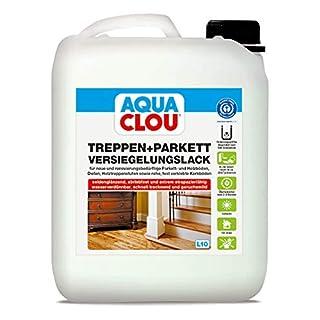 Aqua Clou Treppen- und Parkett Versiegelungslack 5L: Anwendung auf neuen Holzböden und im Rahmen der Renovierung – seidenglänzend, abriebfest, schnell trocknend für Dielen, Holz-Treppenstufen sowie Korkböden