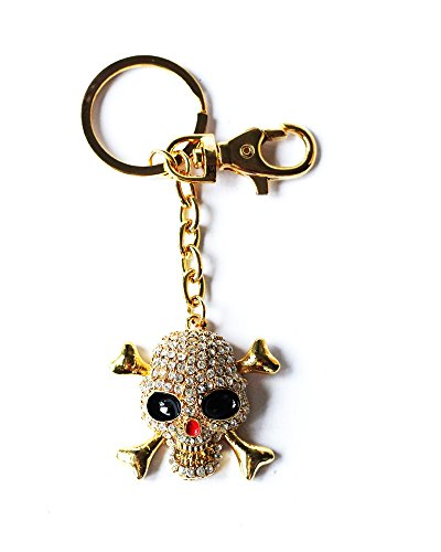 Colore oro del cranio del Rhinestone portachiavi di cristallo di fascino della borsa del pendente dell'anello del sacchetto della catena chiave del regalo nuovo nuovo nuovo