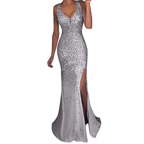 RYTECFES Abendkleid Für Party Damen Enge Sexy Maxikleid Pailletten Quaste Partykleid V-Ausschnitt Elegantem Sommerkleider Chiffon - Pailletten Matrose Kostüm