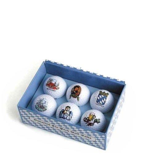 Bayerischer Sechs-Ball Golfball, Bayerischer Golfball Design in Blau / Weiß Golfball-Box, 6 Mark Golfbälle als Golf Geschenk Golf Geschenk Golf Geschenk -