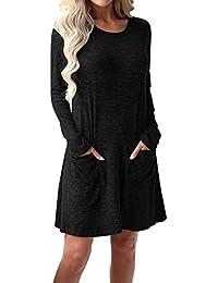CNFIO Damen Kleid Minikleid T-Shirt Langarm Casual Rundhals Knielang Mit  Taschen ff5ae284a2