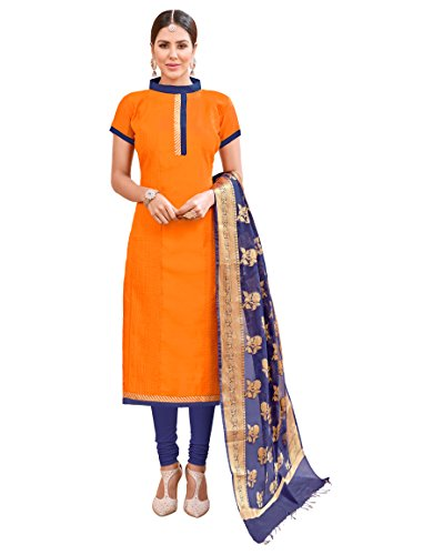 Orange Chanderi Cotton UnStitched Salwar Suits