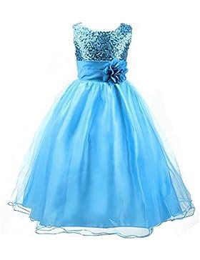 LSERVER-Ragazze Vestito Festa da Principessa Paillettes Matrimonio Farfalla e fiore Vestito per Compleanno Partito...