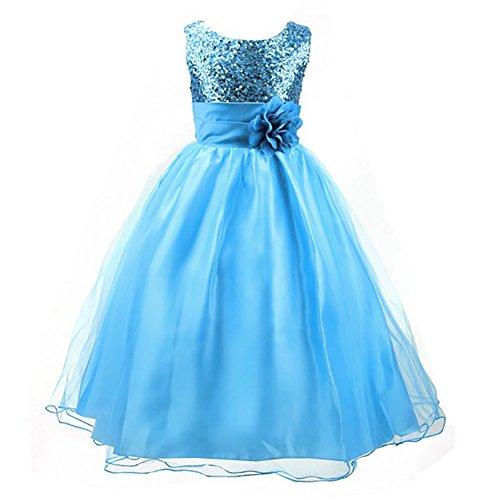 chen Prinzessin Kostüm Paillette Blume Hochzeit Bankett Party Kleid (Kostüme Für Kinder Prinzessin)