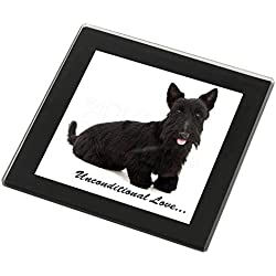 Scottish -Terrier-Hund - With Love Glasuntersetzer mit schwarzem Rand Weihnachts