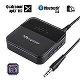 Mbuynow Trasmettitore Ricevitore Bluetooth 5.0, Adattatore Audio Bluetooth 2-in-1, TOSLINK Ottico, Cavo AUX e RCA da 3,5 mm, aptX HD e aptX LL, per Altoparlanti per Cuffie Stereo Portatili TV