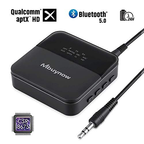 Émetteur Récepteur Bluetooth 5.0, Mbuynow Adaptateur Audio Bluetooth avec Optique Digital TOSLINK, Audio 3,5mm AUX et RCA, Support aptX HD et aptX LL, Transmetteur pour TV, PC, Stéréo, Autoradios
