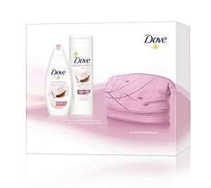 Dove Geschenkset mit Pflegedusche, BodyLotion plus Kosmetiktasche