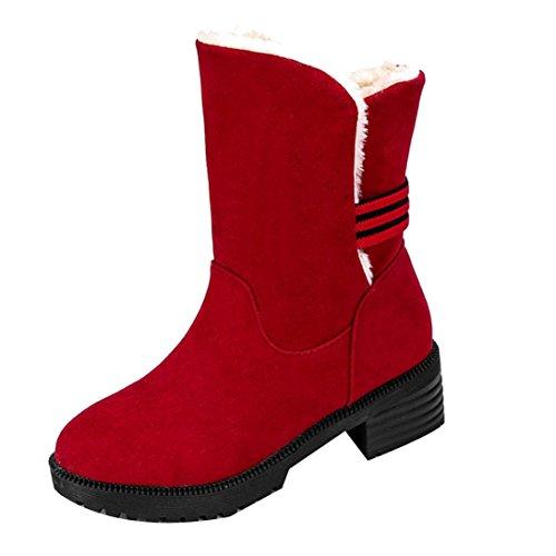 Stiefel damen Kolylong® Frauen Elegant Stiefeletten Flach Herbst Winter Verdickte Stiefel Kurz Warm Schnee Schuhe Martin Stiefel Freizeit Winterschuhe (37, Rot) (Ferse-plattform-schuhe)