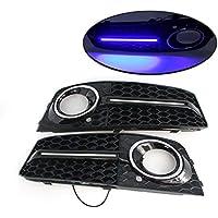 LIJUMN 2 Piezas Rejilla de luz antiniebla Tipo Panal con reemplazo de Barra de luz Azul