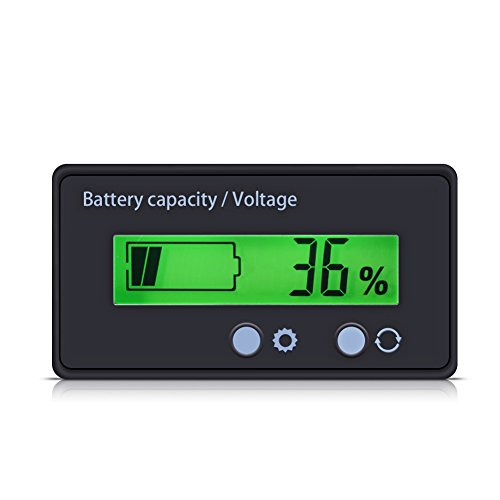 Diyeeni Spannungsmesser LCD Display Grün Beleuchtetes Universalpanel Digitalanzeige Spannungsmessgerät Kapazität Voltmeter-Monitor, anwendbar für Batterie- oder Batterieausrüstung. -