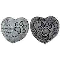 BWG Set Of 2 Pet/Dog Heart Quote Garden Memorial Grave Remembrance Stones Plaques 16cm