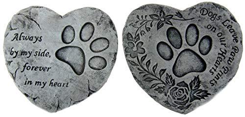BWG Gedenkstein für Haustier/Hunde, Herz-Zitat, für den Garten, 16 cm, 2 Stück
