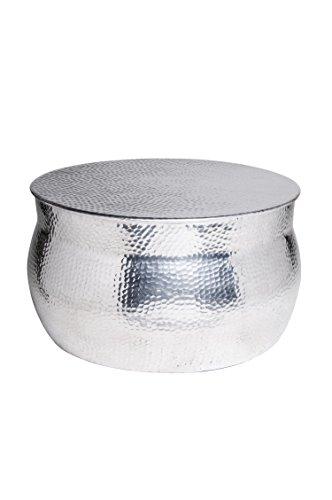 MAADES Wohnzimmertisch Couchtisch rund modern aus Metall | Marokkanischer runder Vintage Tisch aus Aluminium für Ihre Wohnzimmer | Moderner Design Sofatisch in