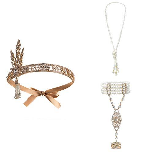 Metme 1920er Jahre Zubehör Set Flapper Roaring 20s Stirnband Ohrringe Perlen Halskette Kostüm für Damen Gold (1920er Jahre Make Up)