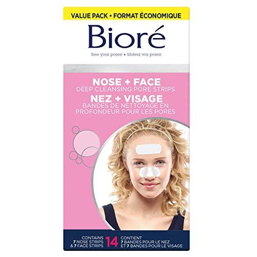 Face & Nose Tiefenreinigung Pore Strips von Biore f-r Unisex - 14 Pc 7 Gesicht Pore Strips, 7 Nase Pore Strips -